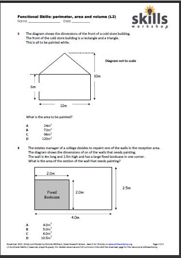 Functional Maths Worksheets Functional Maths L2 Perimeter area and Volume Multiple