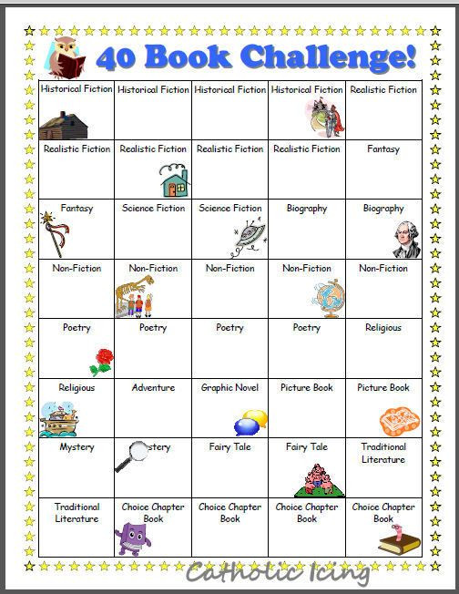 Genre Worksheets 4th Grade Printable Reading Charts for Kids 20 Book Challenge 40