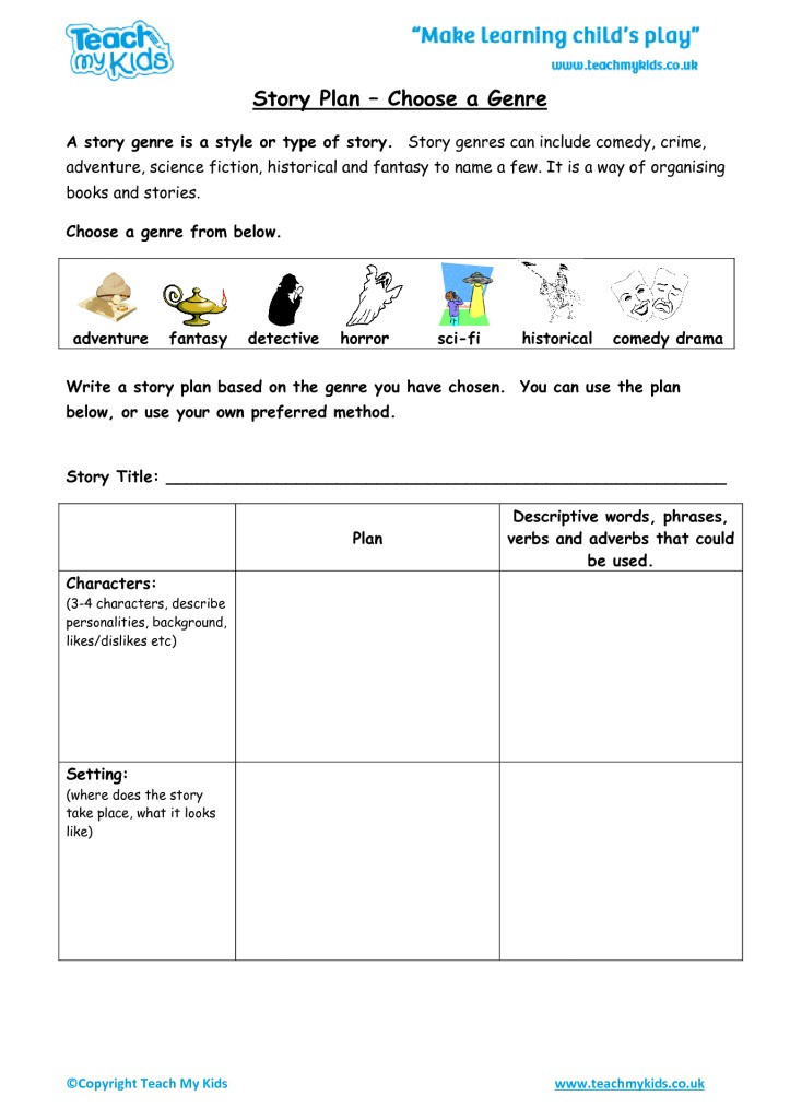Genre Worksheets 4th Grade Story Plan Choose A Genre