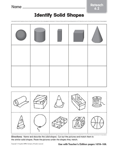 Geometric Shapes Worksheet 2nd Grade Identify solid Shapes 4 Worksheet for 1st 2nd Grade