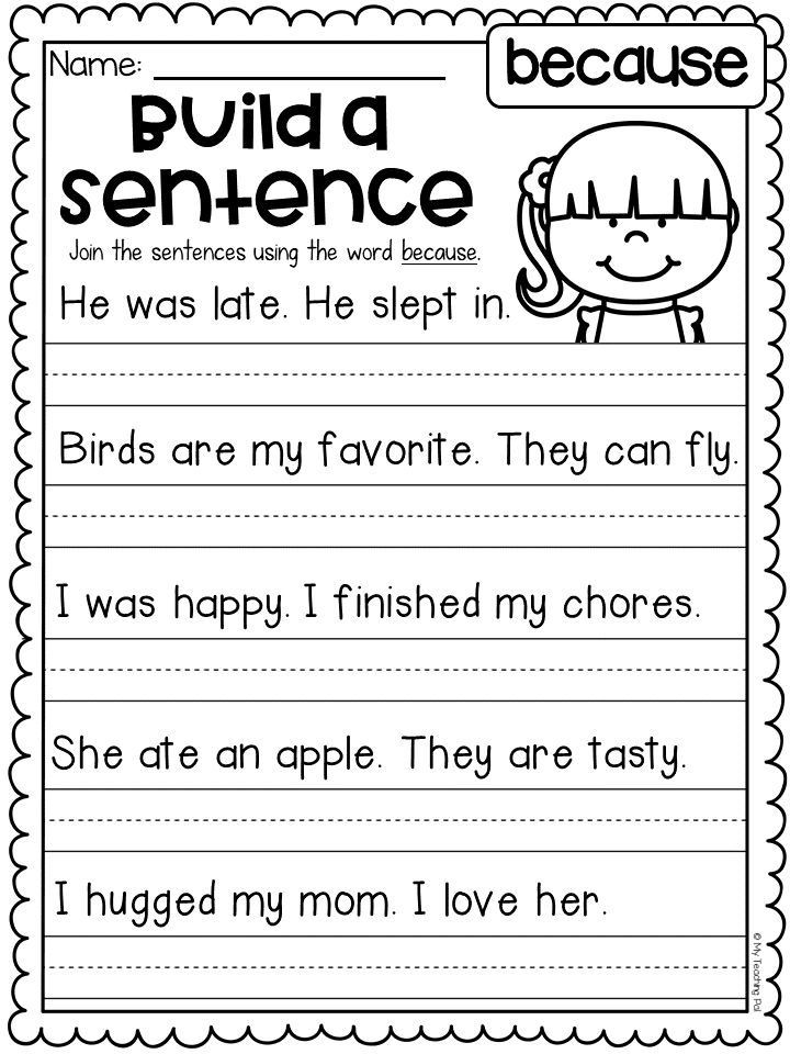 Grammar Worksheet First Grade Conjunction Worksheet for the Word because Students Read