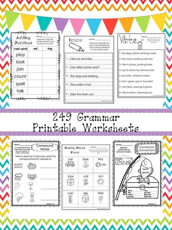 Grammar Worksheets for 3rd Grade 249 Grammar Worksheets Download 1st 3rd Grade Ela Zip File