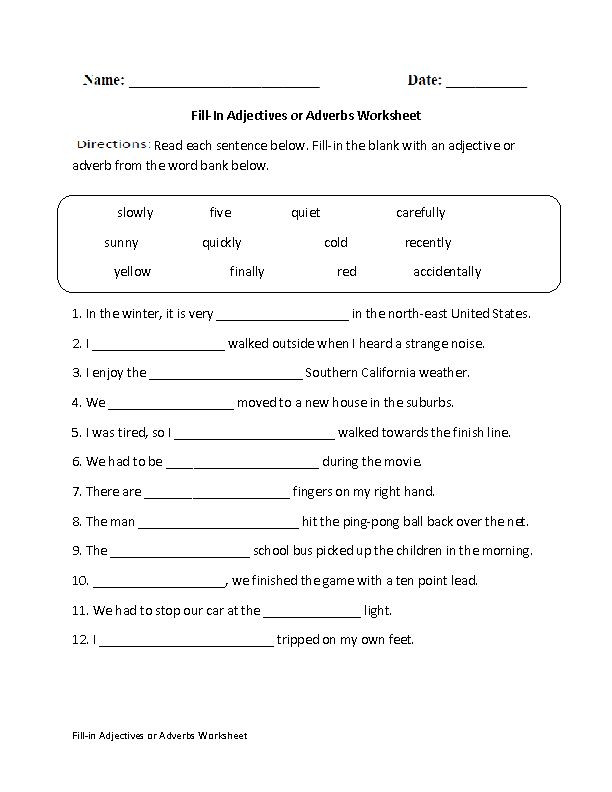 Grammar Worksheets for 8th Graders Fill In Adjectives or Adverbs Worksheet