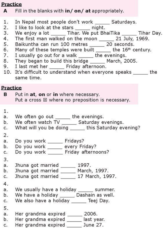 Grammar Worksheets for 8th Graders Grade 8 Grammar Lesson 27 at On and In Prepositions Of Time