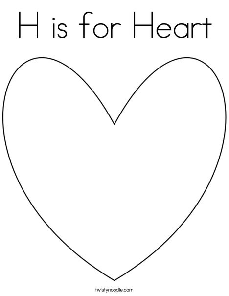 Heart Coloring Worksheet H is for Heart Coloring Page Twisty Noodle