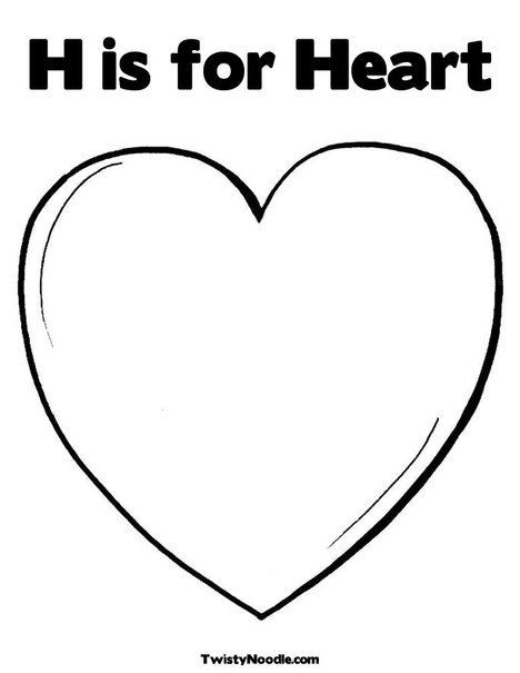 Heart Coloring Worksheet H is for Heart