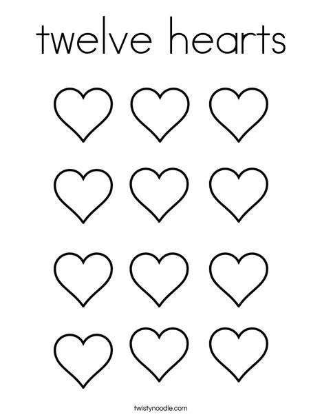 Heart Coloring Worksheet Twelve Hearts Coloring Page Twisty Noodle