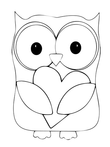 Heart Coloring Worksheet Valentine Day Owl Hugging A Heart Coloring Page