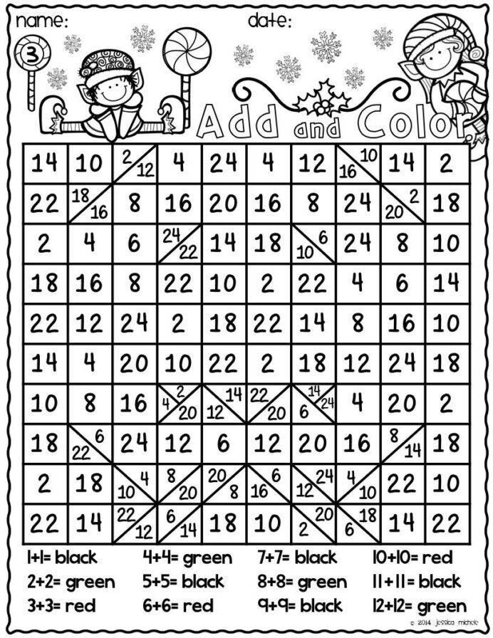Hidden Picture Math Worksheets and Color Hidden Christmas Doubles Facts Math Free
