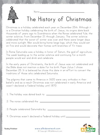 History Worksheets for 2nd Grade Christmas Reading Worksheet