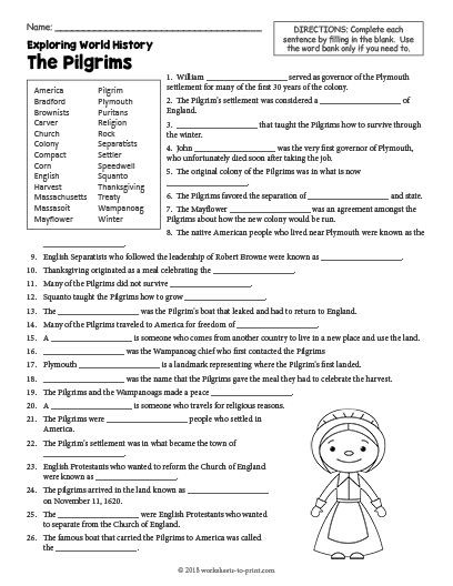 History Worksheets for 2nd Grade Free Printable the Pilgrims History Worksheet