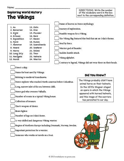 History Worksheets for 2nd Grade Free Printable the Vikings History Worksheet
