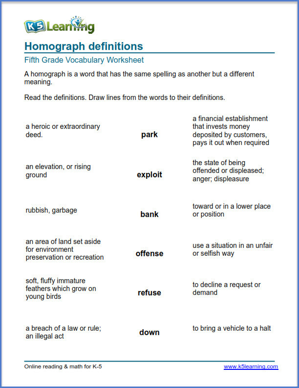 Homograph Worksheet 5th Grade Grade 5 Vocabulary Worksheets – Printable and organized by