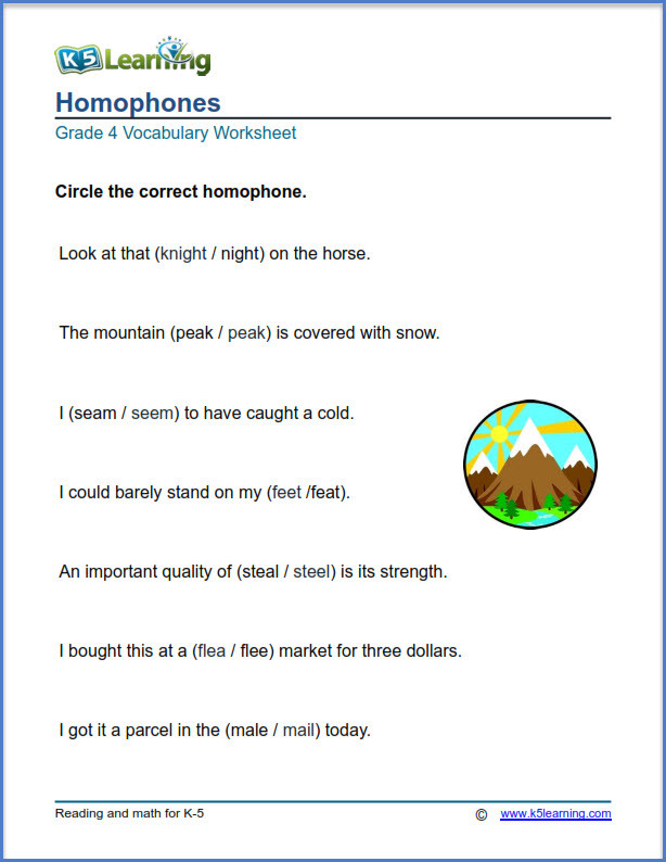 Homophones Worksheet 4th Grade Grade 4 Vocabulary Worksheets – Printable and organized by