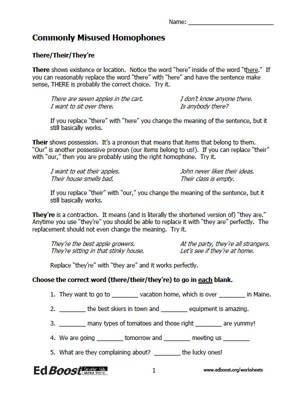 Homophones Worksheet 5th Grade Homophone Worksheets