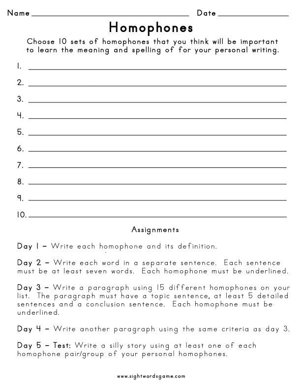 Homophones Worksheet 5th Grade Homophones