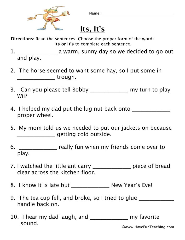 Homophones Worksheet 5th Grade Its It S Homophones Worksheet