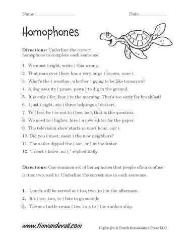 Homophones Worksheets 4th Grade Free Homophones Worksheets