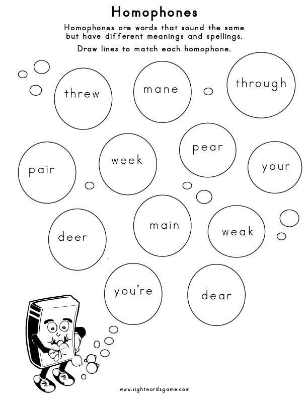Homophones Worksheets 4th Grade Homophones Sight Words Reading Writing Spelling