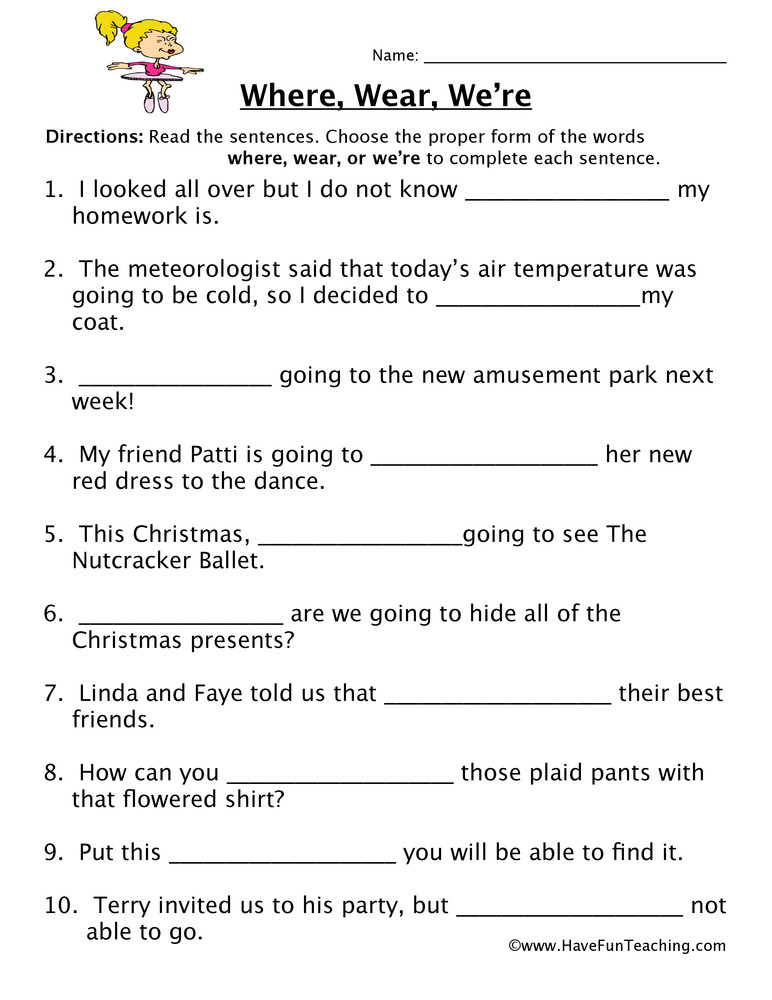Homophones Worksheets 4th Grade where Wear We Re Homophones Worksheet
