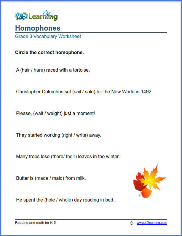 Homophones Worksheets for Grade 2 Grade 3 Vocabulary Worksheets – Printable and organized by
