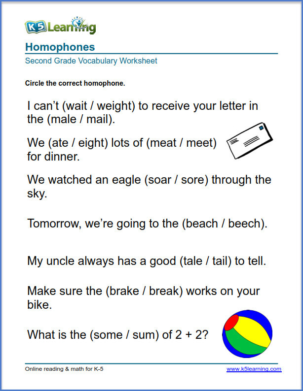 Homophones Worksheets for Grade 5 2nd Grade Vocabulary Worksheets – Printable and organized by