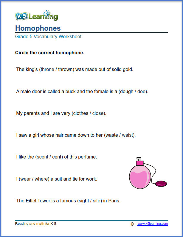 Homophones Worksheets for Grade 5 Grade 5 Vocabulary Worksheets – Printable and organized by