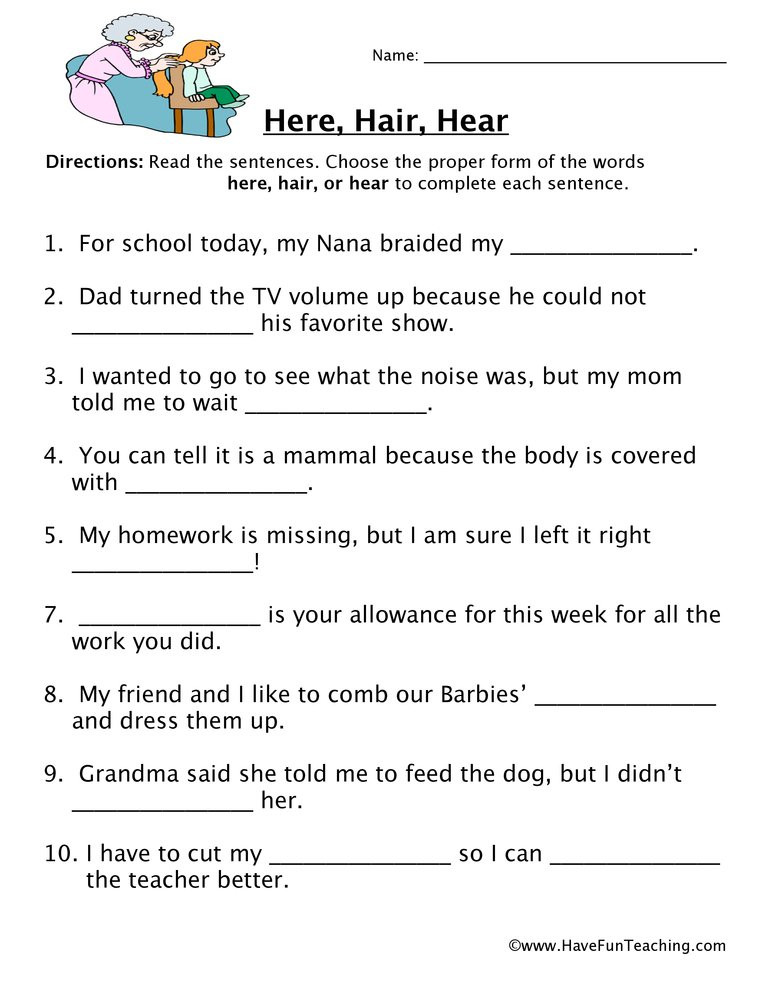 Homophones Worksheets for Grade 5 Here Hair Hear Homophones Worksheet