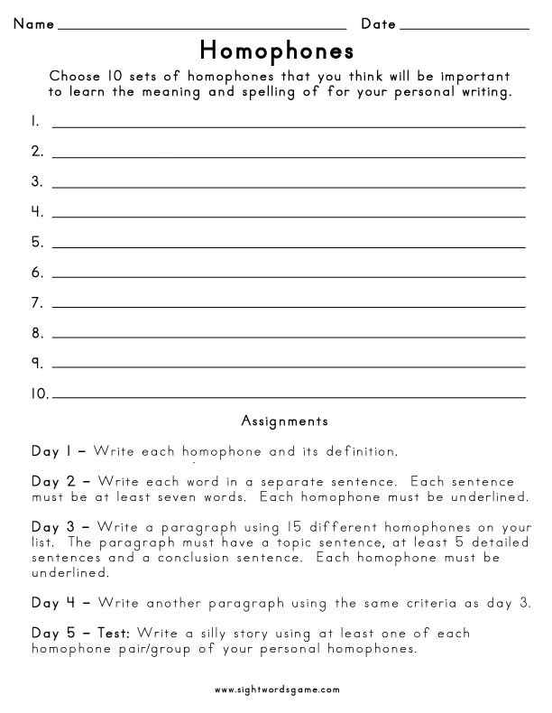 Homophones Worksheets for Grade 5 Homophone Definition Worksheets