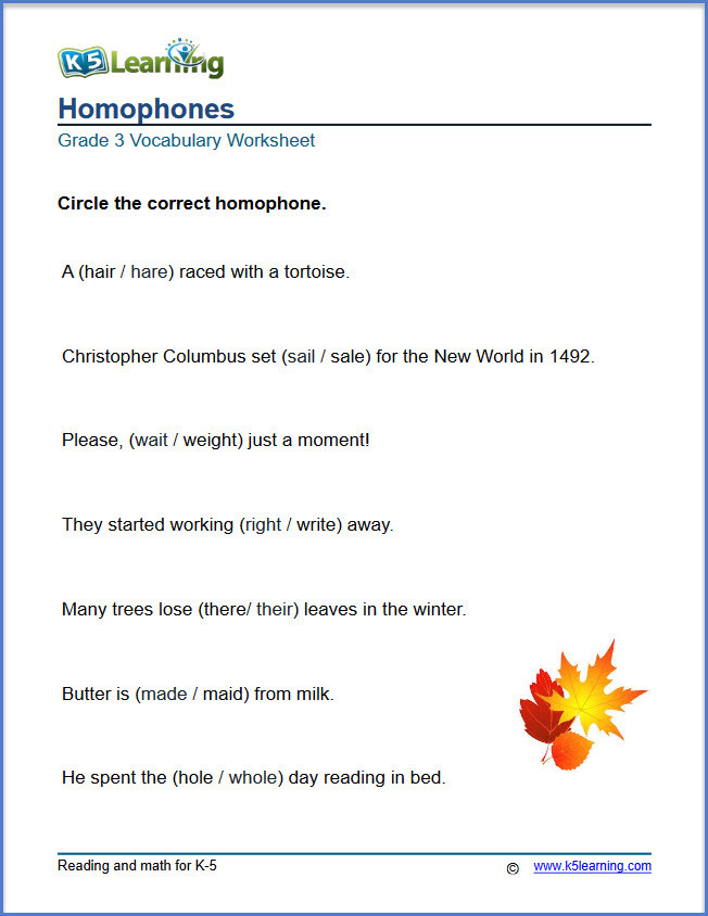 Homophones Worksheets for Grade 5 What are Homophones