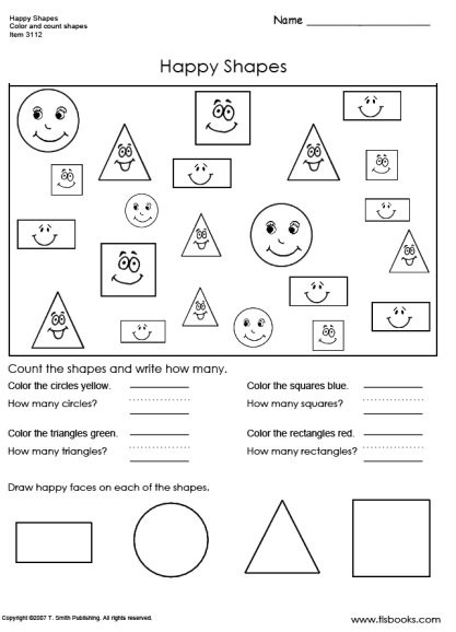 Identify Shapes Worksheet Kindergarten Happy Shapes Worksheet