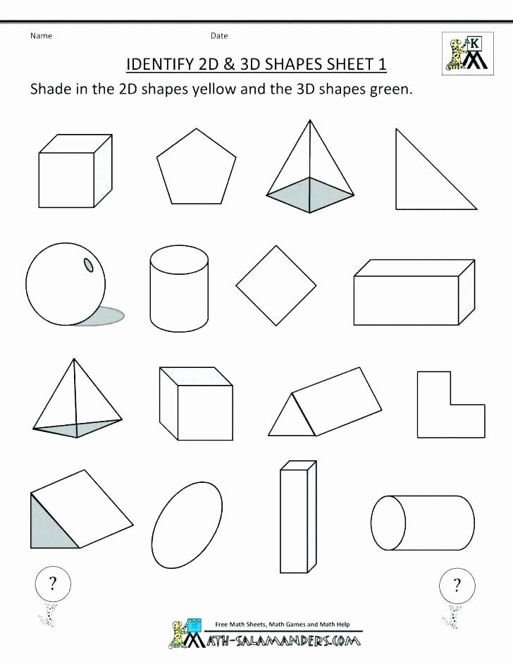 Identify Shapes Worksheet Kindergarten Identify Shapes Worksheet Kindergarten 3d Shapes Worksheets
