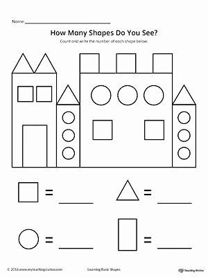 Identify Shapes Worksheet Kindergarten Identify Shapes Worksheet Kindergarten Recognize and Count