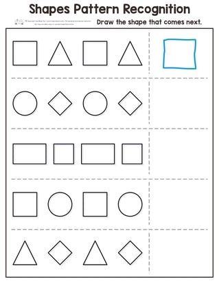 Identify Shapes Worksheet Kindergarten Shapes Pattern Recognition for Kindergarten Itsybitsyfun