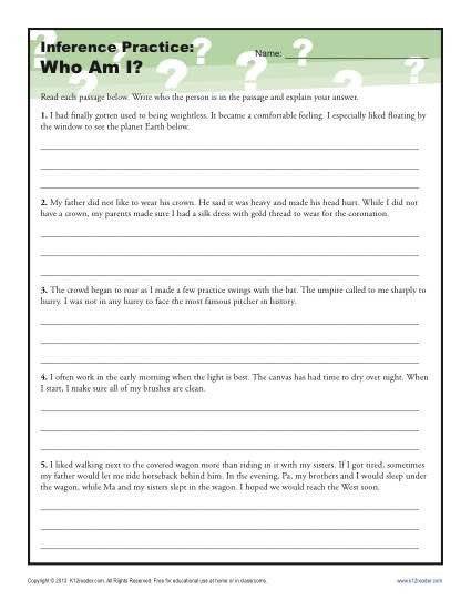Inference Worksheets 4th Grade Pdf who Am I