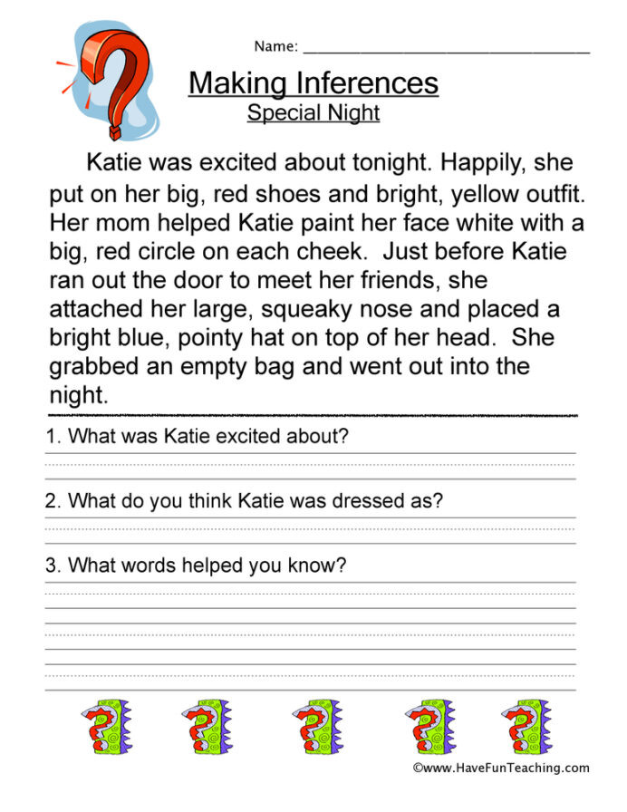 Inference Worksheets for 4th Grade Making Inferences Special Night Worksheet Have Fun Teaching