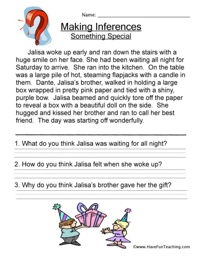 Inference Worksheets for 4th Grade Making Inferences Worksheet Reading Worksheets Mathaid