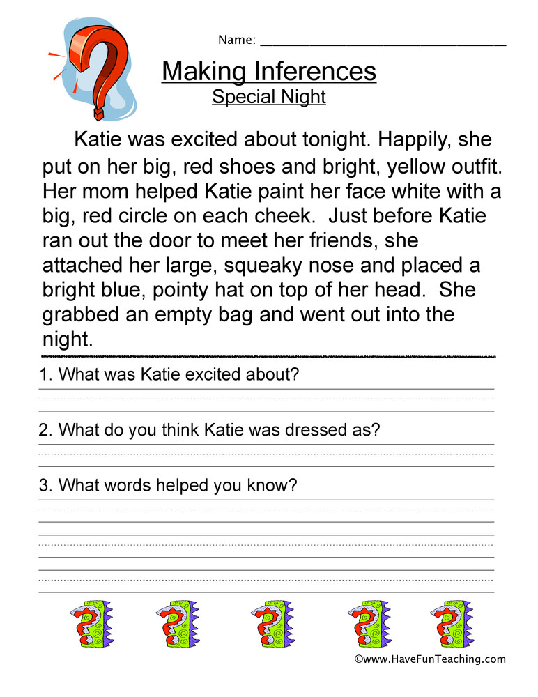 Inference Worksheets Grade 3 Making Inferences Special Night Worksheet