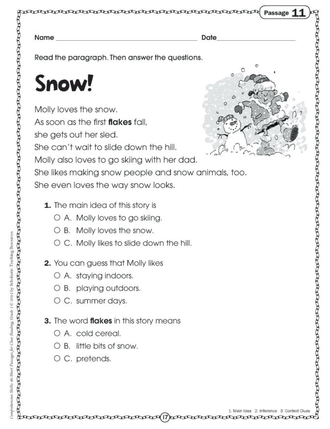 Inference Worksheets Grade 3 Math Worksheet First Grade Prehension Passagesree