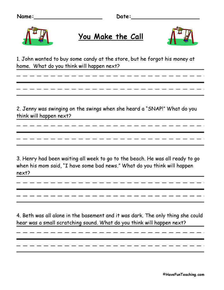 Inference Worksheets Grade 4 You Make the Call Inferences Worksheet