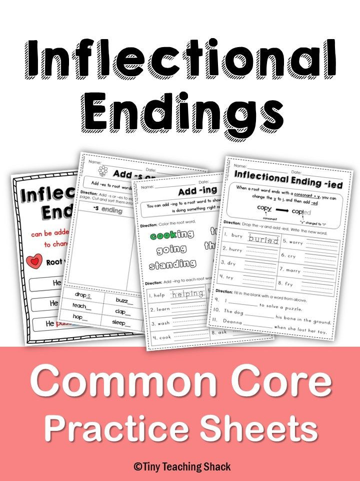 Inflected Endings Worksheets 2nd Grade Inflectional Endings for First and Second Grade No Prep