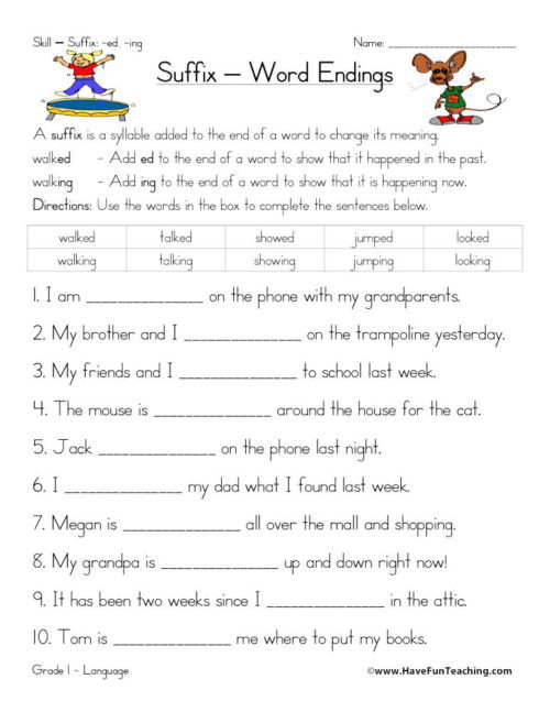 Inflected Endings Worksheets 2nd Grade Suffixes Worksheets • Have Fun Teaching
