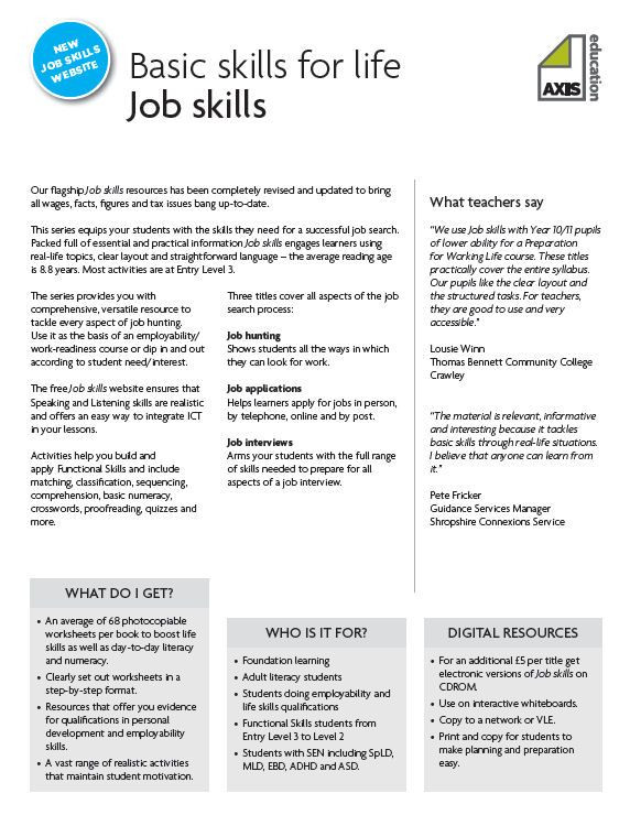 Job Readiness Printable Worksheets Job Skills and Employability Resources Resources Tes