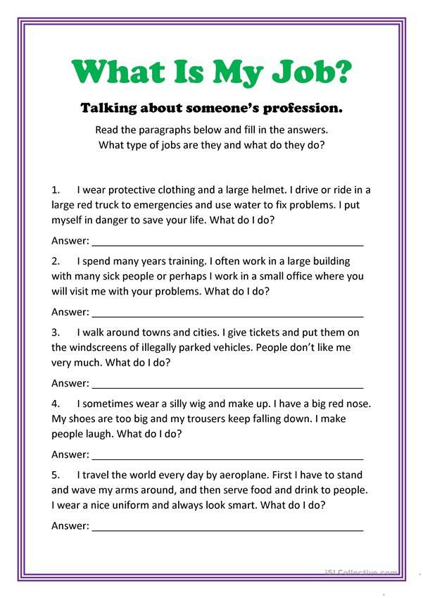Job Readiness Printable Worksheets What is My Job