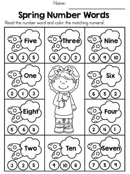 Kindergarten Color Words Worksheets Spring Number Words Fun and Engaging Activity to Teach