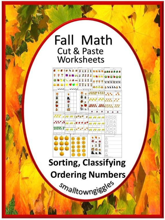 Kindergarten Math sorting Worksheets Fall Activities sorting Printable Special Education Math Fine Motor Skills Math Worksheets Kindergarten Preschool Digital Download