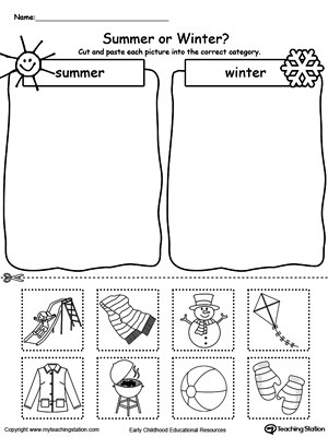 Kindergarten Math sorting Worksheets sorting Summer and Winter Seasonal Items
