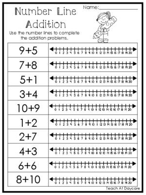 Kindergarten Number Line Worksheet 15 Number Line Addition Printable Worksheets Prek 1st Grade