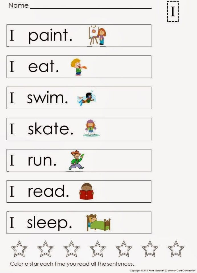 Kindergarten Reading Worksheets Sight Words Building and Reading Simple Sentences Sight Words