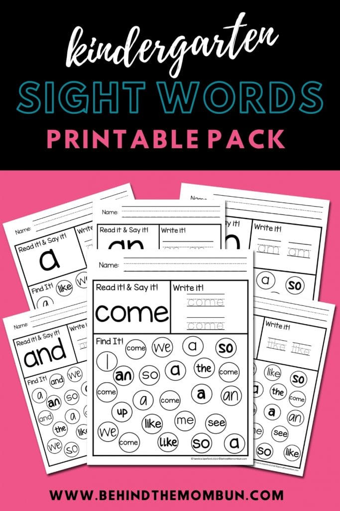 Kindergarten Sight Words Worksheet Free Kindergarten Sight Words Worksheets Behind the Mom Bun